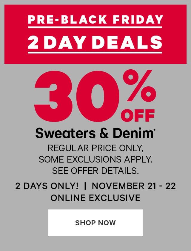 30 OFF Sweaters & Denim