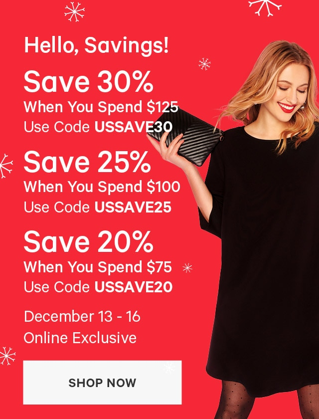 Save 30 percent When you spend 125 dollars